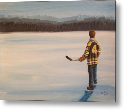 Ron  Genest - On Frozen Pond - Bobby Print