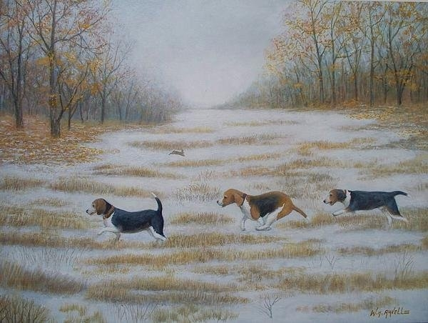 William H RaVell III - Three Beagles and a bunny Print