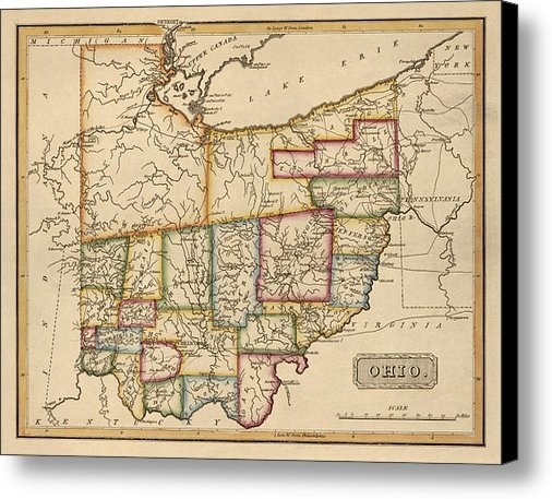 Blue Monocle - Antique Map of Ohio by Fi... Print