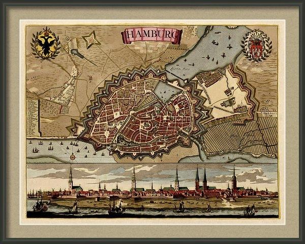 Blue Monocle - Antique Map of Hamburg Ge... Print