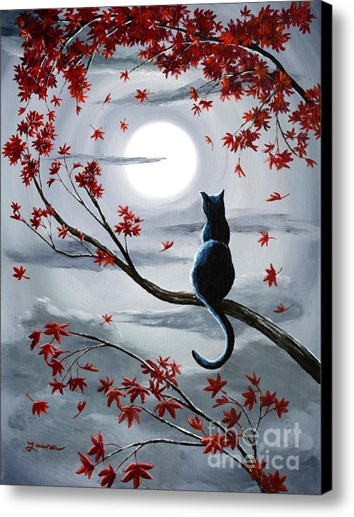 Laura Iverson - Black Cat in Silvery Moon... Print