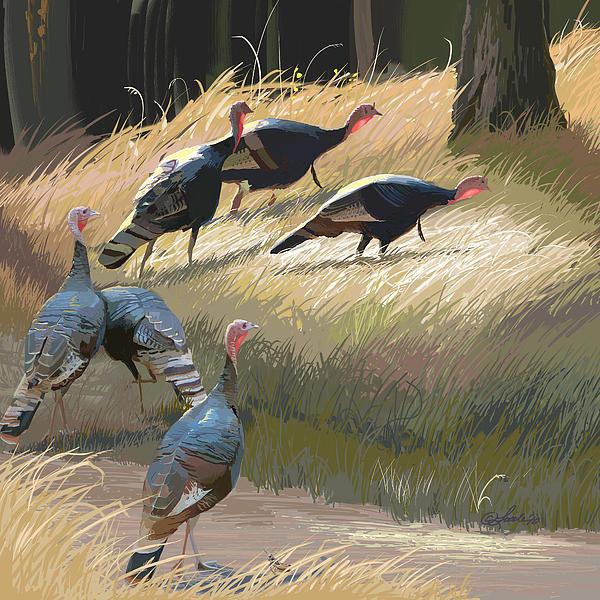 Pam Little - Turkeys in the Fall Sun Print