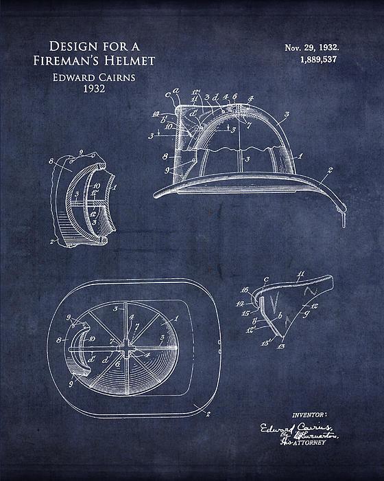 Sara Harris - Fireman helmet patent art... Print