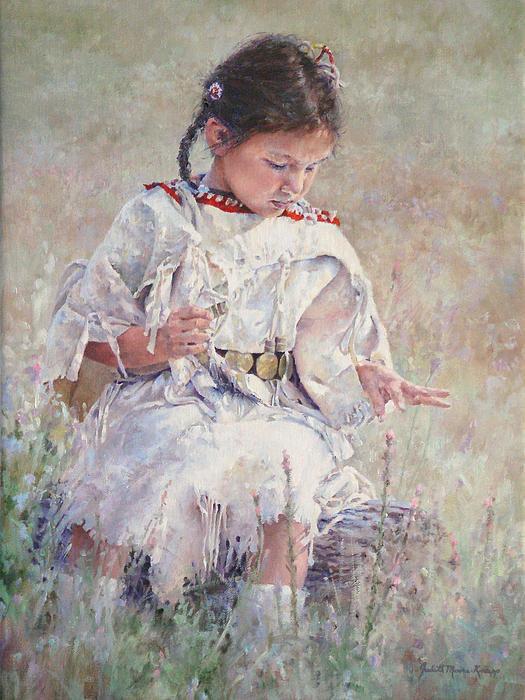 Judith Moore-Knapp - Picking Wildflowers Print