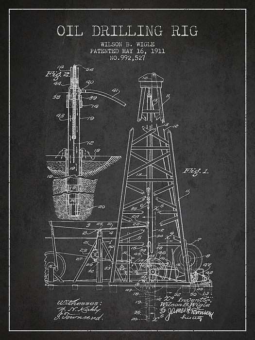 Aged Pixel - Vintage Oil drilling rig ... Print