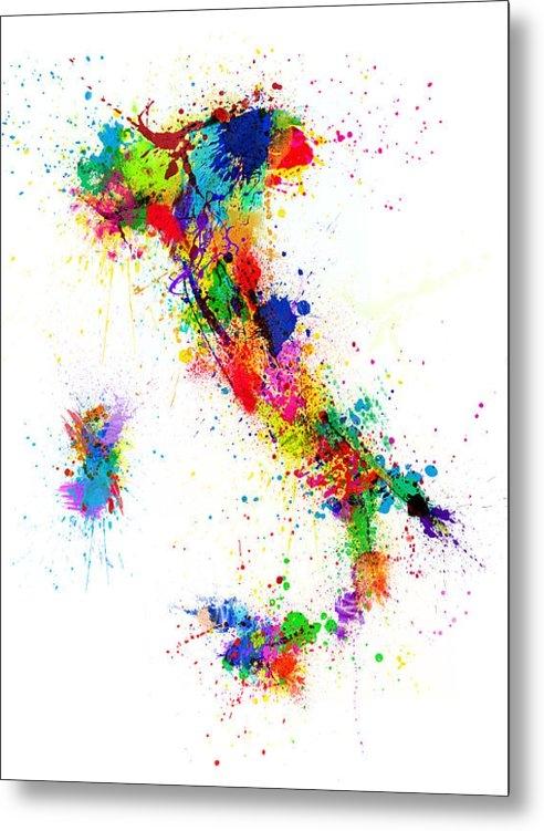 Michael Tompsett - Italy Map Paint Splashes Print