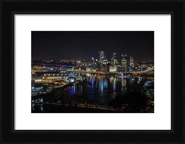 April Reppucci - Pittsburgh Skyline at Nig... Print