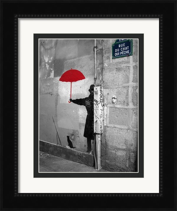 Scott Carda - Red Umbrella in a Paris A... Print