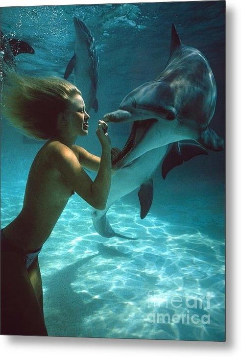 Derek Berwin - Dolphin Toples Girl Print