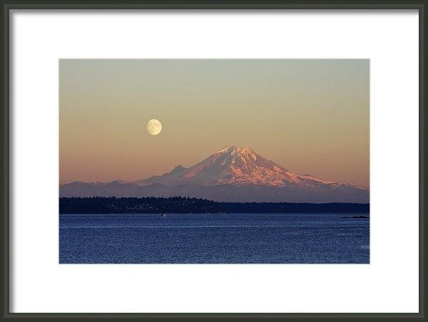Adam Romanowicz - Moon Over Rainier Print