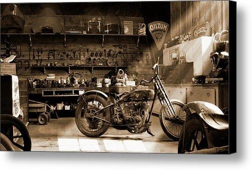 Mike McGlothlen - Old Motorcycle Shop Print