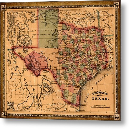 World Art Prints And Designs - Texas Map Art - Vintage A... Print