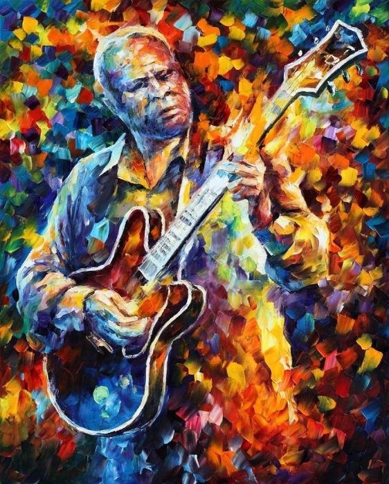 Leonid Afremov - Bb King - Long Nights Print