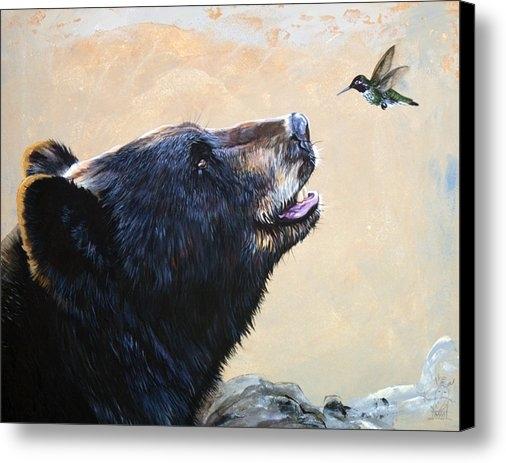 J W Baker - The Bear and the Hummingb... Print