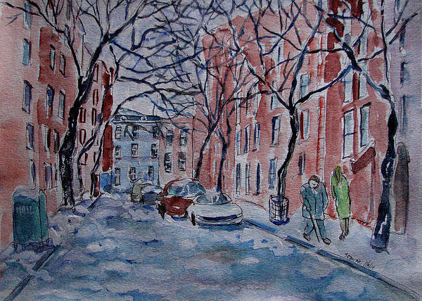 Lucille Femine - Snow on Jones Street NYC Print