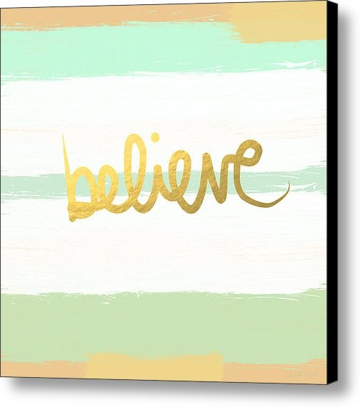 Linda Woods - Believe in Mint and Gold Print