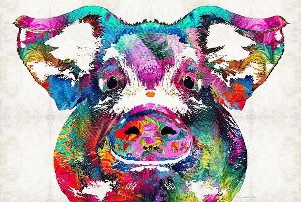 Sharon Cummings - Colorful Pig Art - Squeal... Print