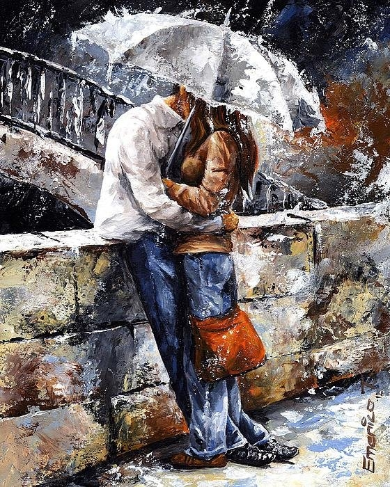 Emerico Imre Toth - Rainy day - Love in the r... Print