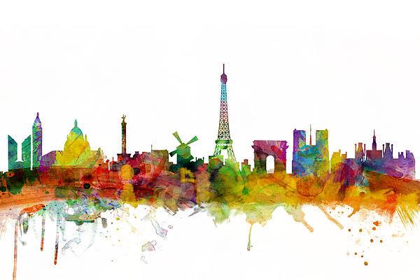 Michael Tompsett - Paris France Skyline Print