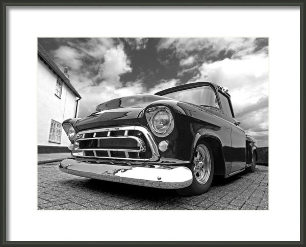 Gill Billington - 57 Stepside Chevy in Blac... Print