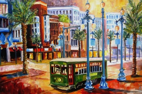 Diane Millsap - Streetcar on Canal Street Print