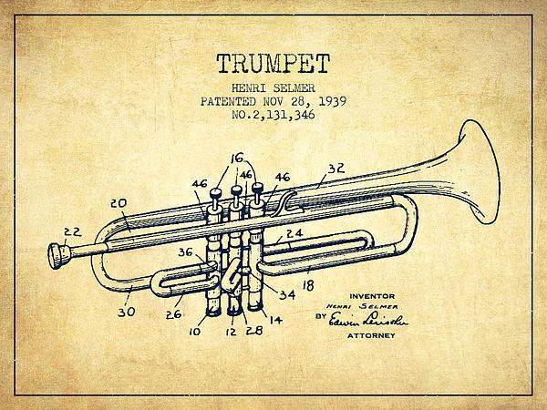 Aged Pixel - Vinatge Trumpet Patent fr... Print