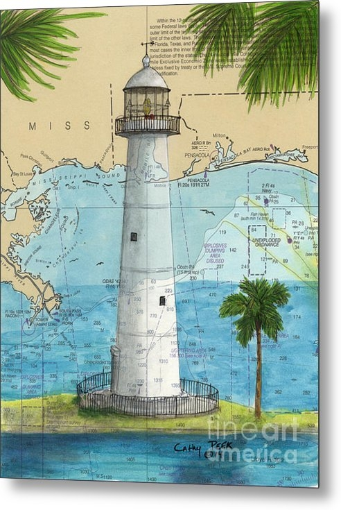 Cathy Peek - Biloxi Lighthouse MS Naut... Print