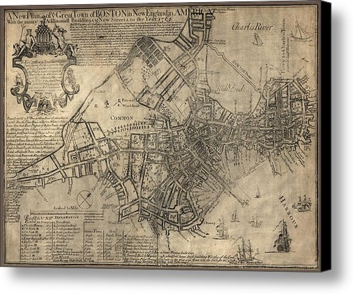 Blue Monocle - Antique Map of Boston by ... Print