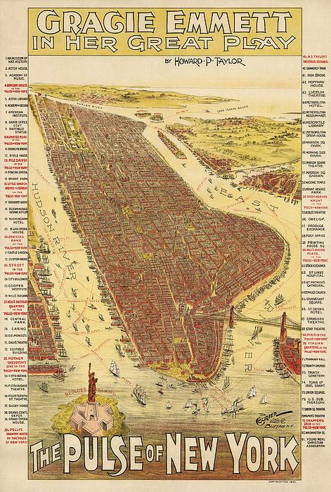 Blue Monocle - Antique Map of New York C... Print