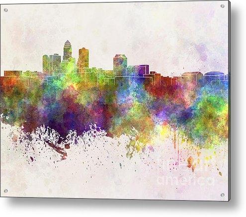 Pablo Romero - Des Moines skyline in wat... Print