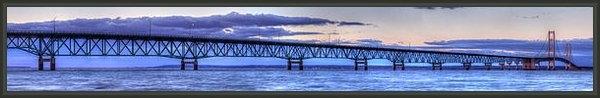 Twenty Two North Photography - Mackinac Bridge in Evenin... Print