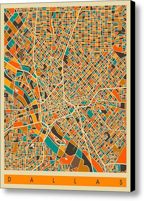 Jazzberry Blue - Dallas Map Print