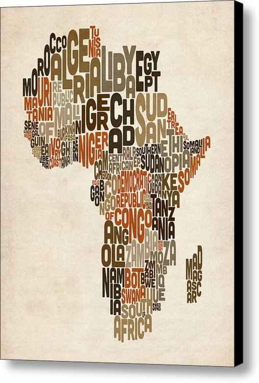 Michael Tompsett - Typography Text Map of Af... Print