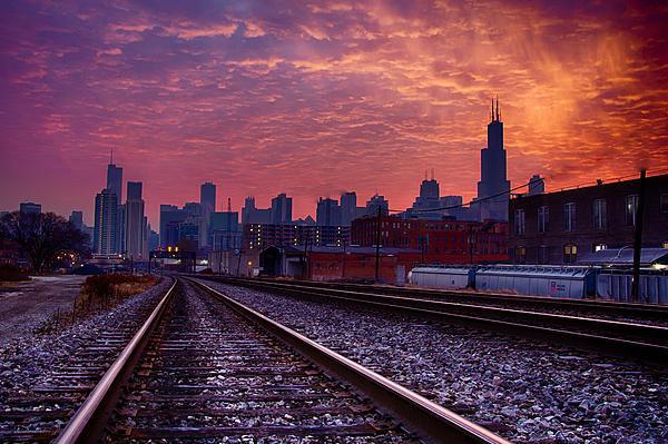 Michael  Bennett - Chicago Skyline Sunrise D... Print