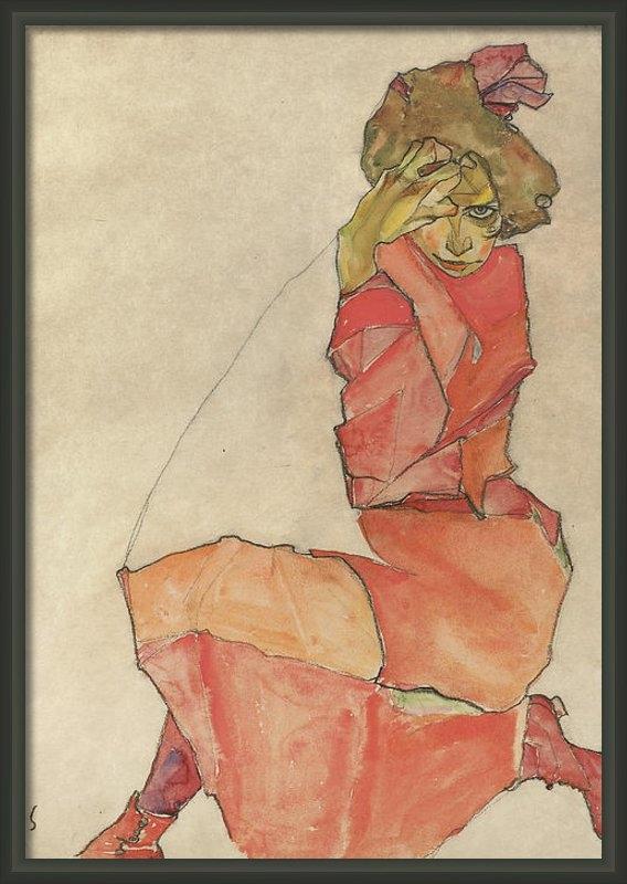 Egon Schiele - Kneeling Female in Orange... Print