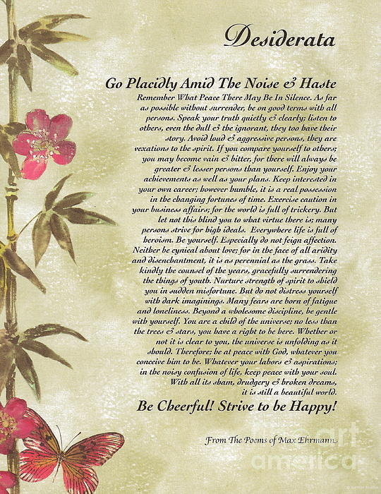 Claudette Armstrong - Desiderata Poem with Bamb... Print