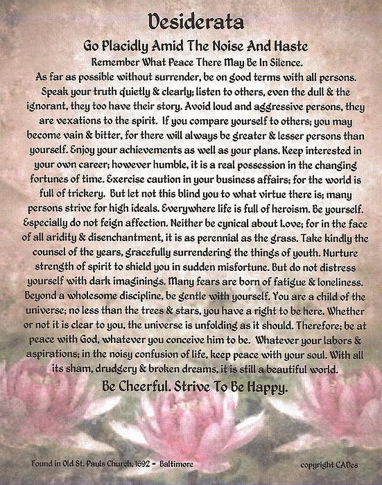 Claudette Armstrong - Desiderata on Lotus Water... Print