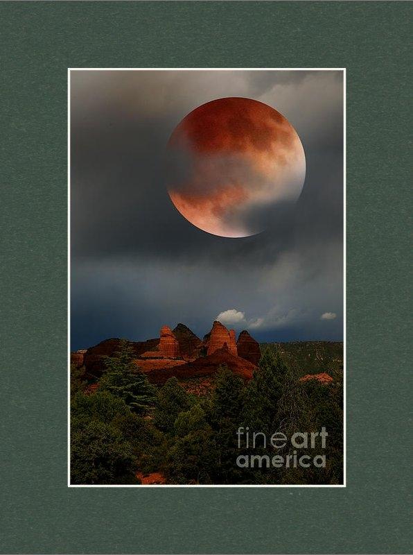 Desi Callen - Red Moon over Red Rock Print