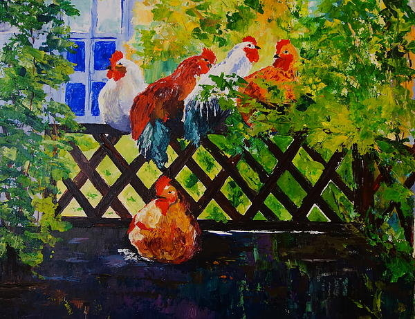 Valerie Curtiss - Back Fence Hen Party Print