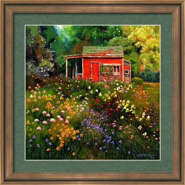 John Lautermilch - Little Red Flower Shed Print