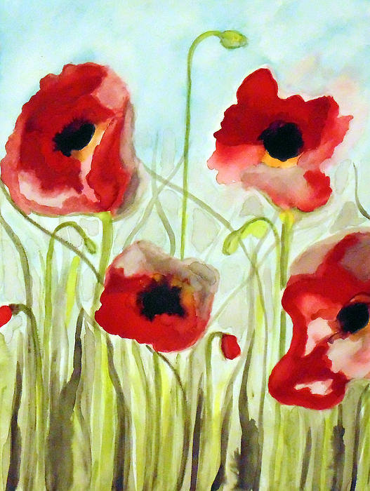 Stephanie Wingard - Four Red Poppies Print