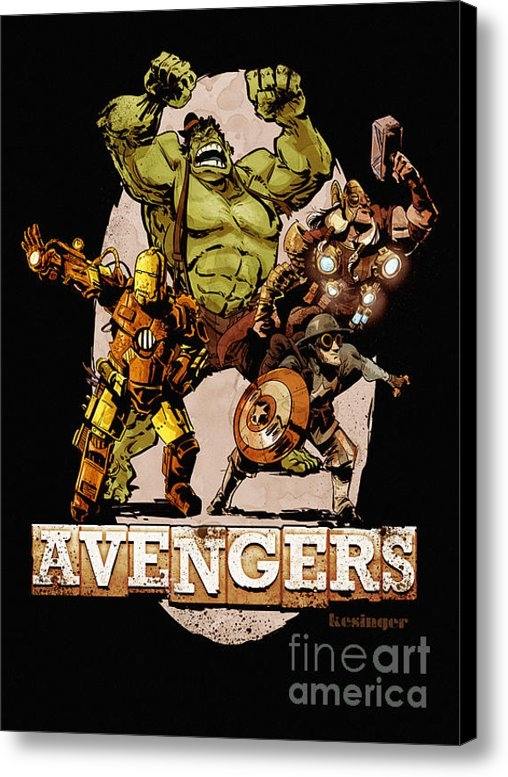 Brian Kesinger - The Old Time-y Avengers Print