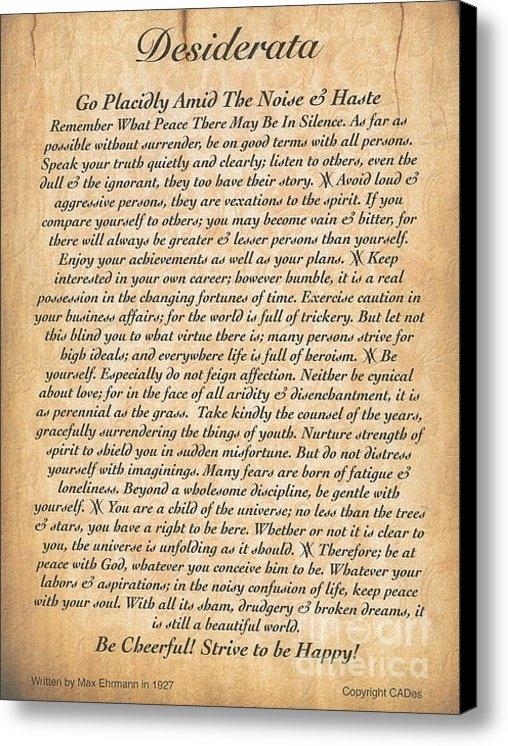Claudette Armstrong - The Desiderata Poem on Em... Print