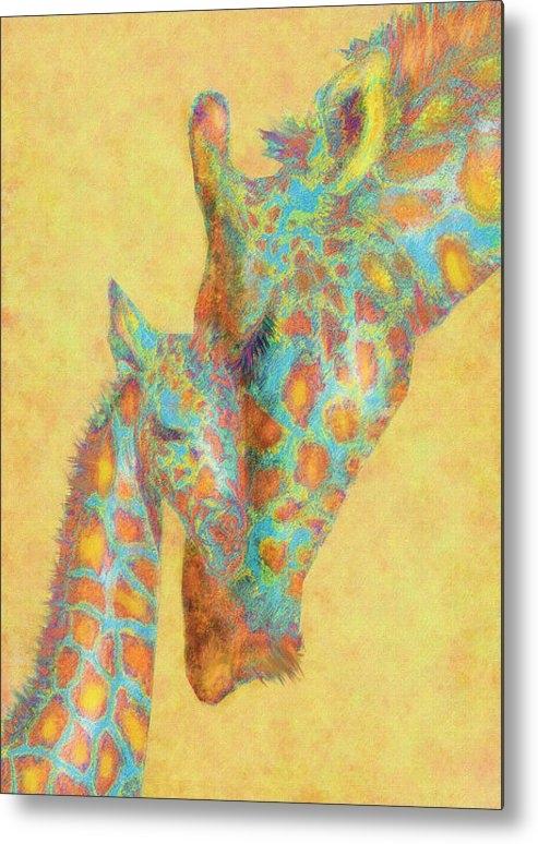 Jane Schnetlage - Aqua And Orange Giraffes Print