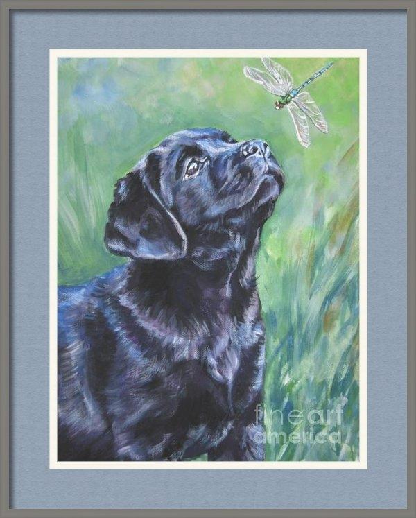 L A Shepard - Labrador Retriever pup an... Print