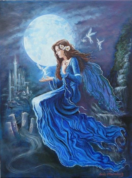 Tomas OMaoldomhnaigh - Celtic Moon Goddess Print