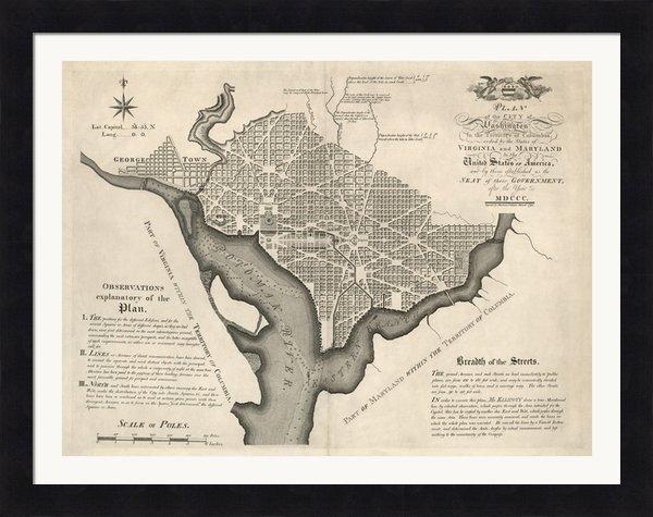 Blue Monocle - Antique Map of Washington... Print