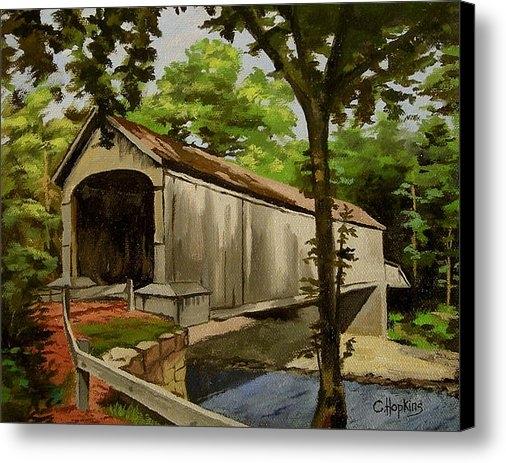 Christine Hopkins - Comstock Covered Bridge E... Print