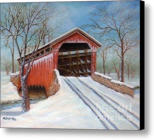 Lora Duguay - Snow Covered Bridge Print