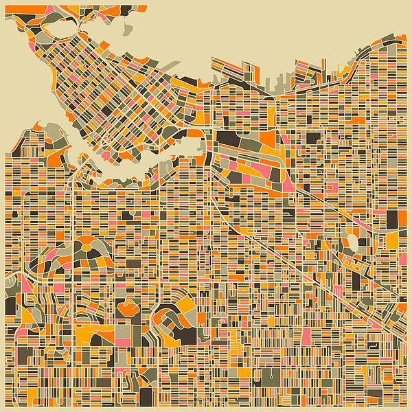 Jazzberry Blue - Vancouver Map Print